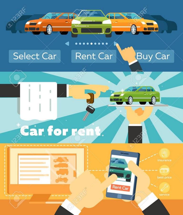 Online Automobile Rental Business Banner Set