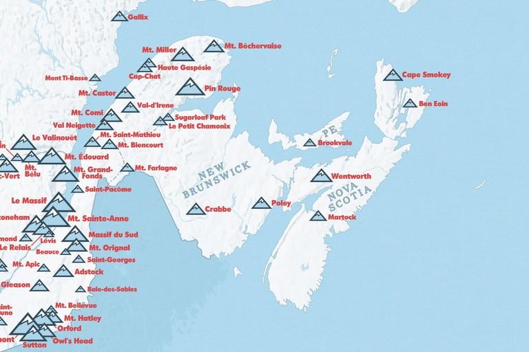 Canada Ski Resorts Map