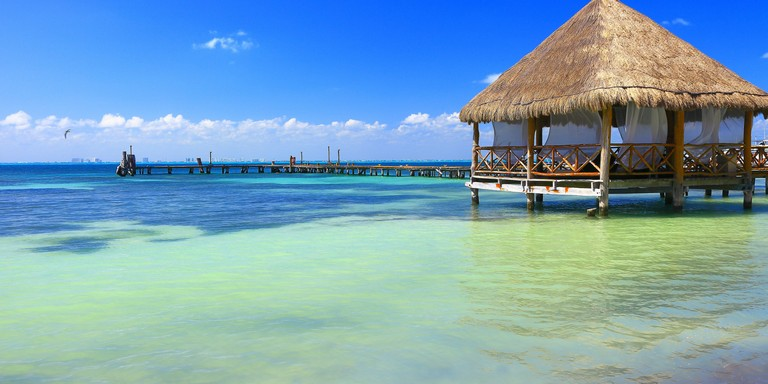 Relax: Beach Palapa Thatched Roof Cancun, Caribbean Tropical Paradise