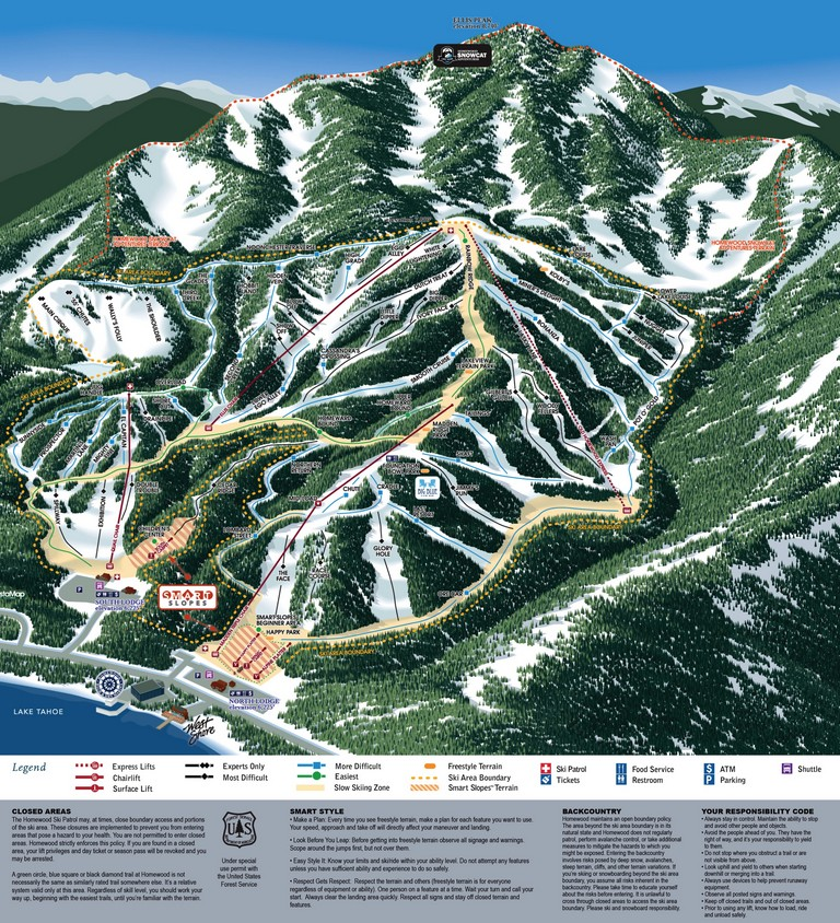 Homewood Ski Resort Map