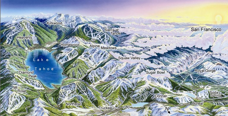 Lake Tahoe Ski Resort Map