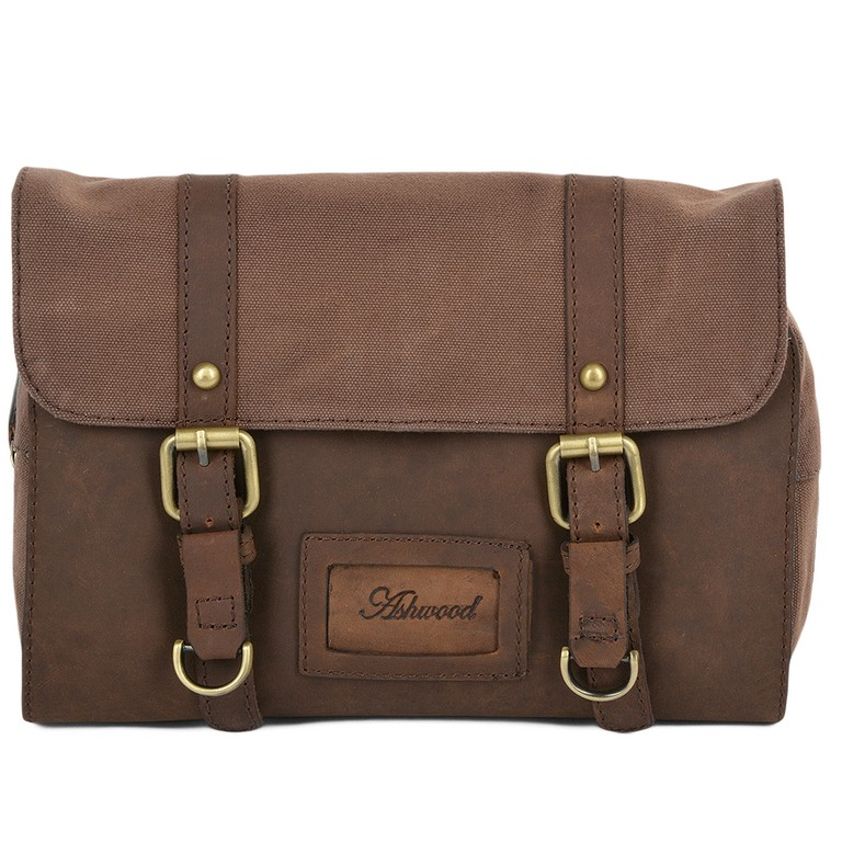 Mens Leather Hanging Toiletry Bag
