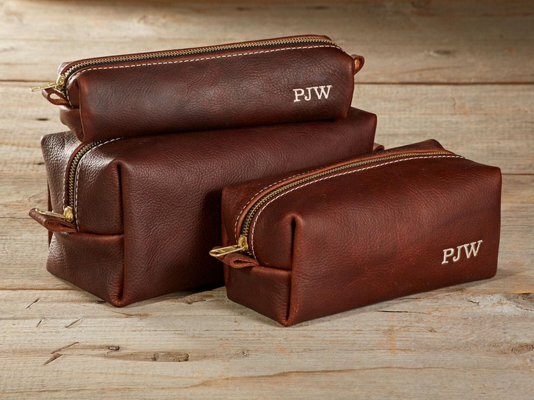 Mens Leather Toiletry Bag Personalized