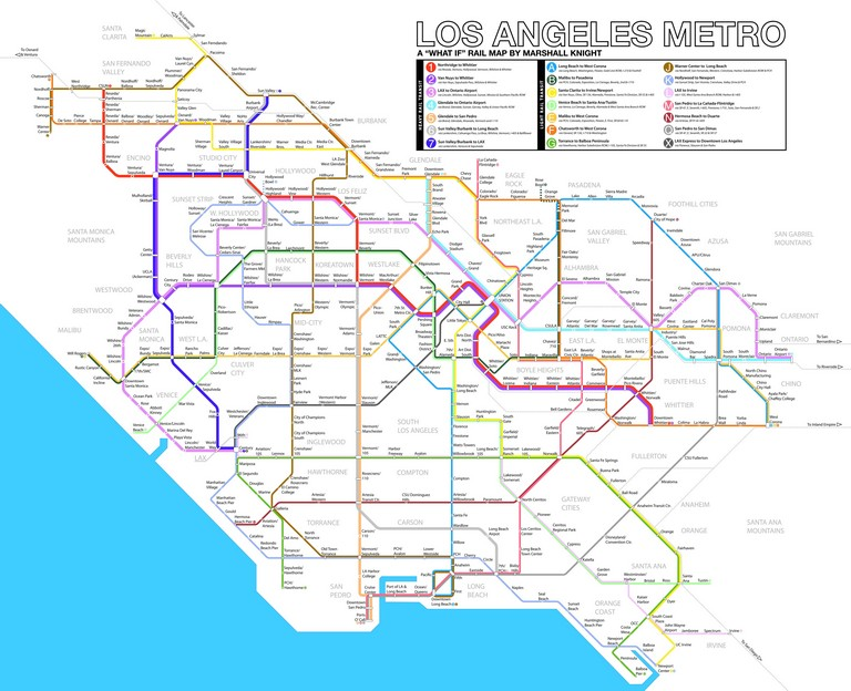 "Nyc Subway Map Trip Planner Los Angeles ""what If"" Metro Rail Map Updated With Feedback By"
