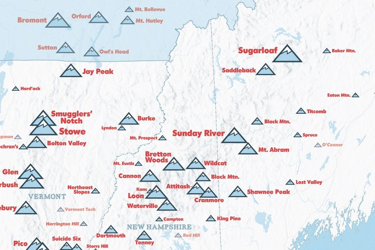 Northeast Ski Resorts Map