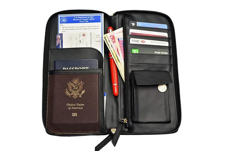 Passport Wallet With Zipper