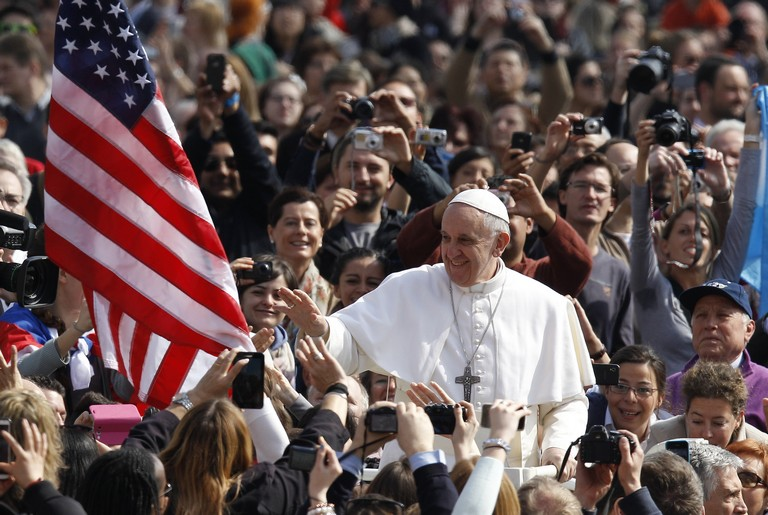 Pope Francis Greets Crowd As He Arrives To Lead General Audience In St. Peter's Square At Vatican