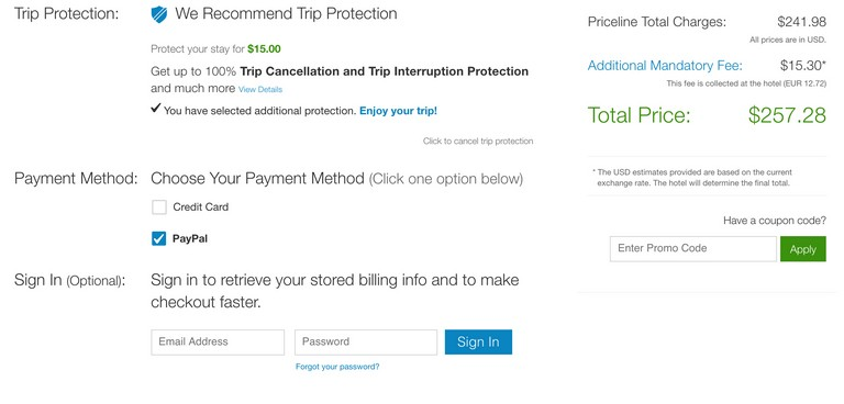 Priceline Trip Protection