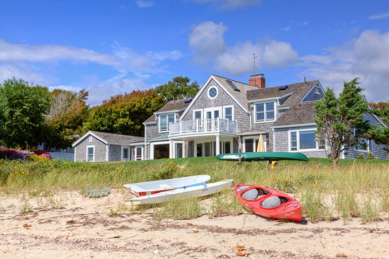 Luxury Waterfront New England House, Hyannis, Cape Cod, Massachusetts, Usa.