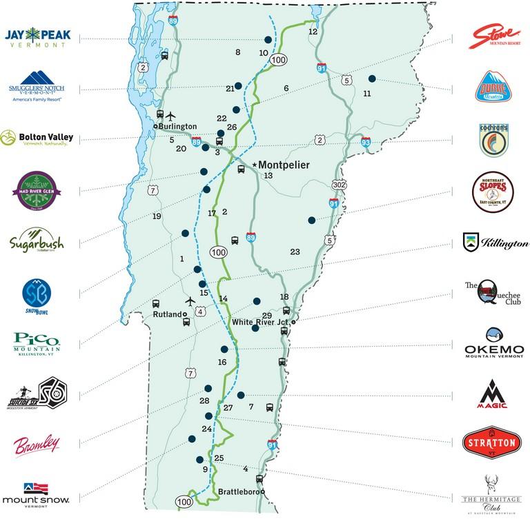 Vermont Ski Resort Map