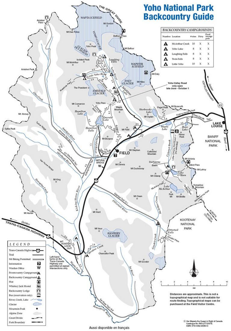 Yoho National Park Map